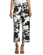 Joan Vass Pleated Floral Cropped Pants