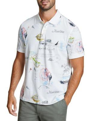 Nautica Classic-fit Artist Series Painted Map Cotton Polo
