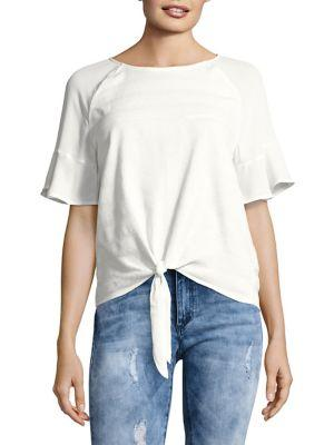 Ivanka Trump Textured Front-tie Top