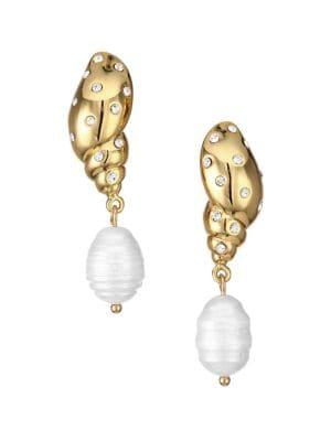 Kate Spade New York Under The Sea Goldplated, Pearl And Pave Drop Earrings