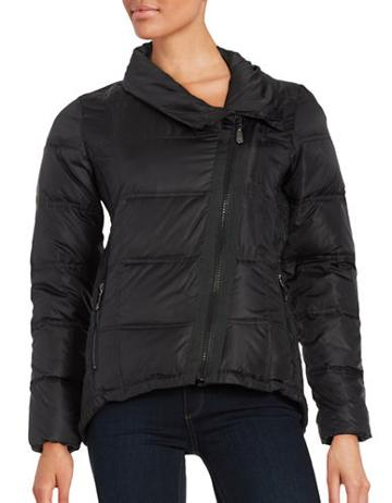 Cece Asymmetrical-zip Down Puffer Coat