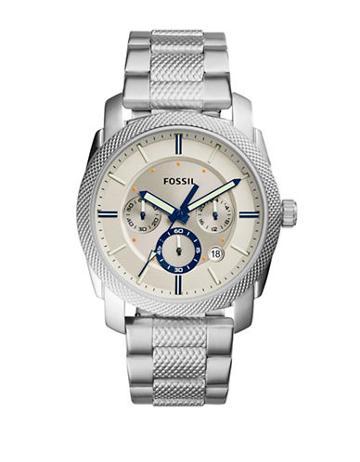 Fossil Casual Machine Three-hand Stainless Steel Bracelet Quartz Chronograph Watch