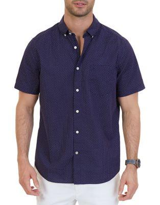 Nautica Classic Fit Dot Print Cotton Shirt