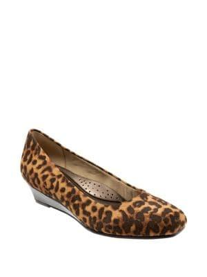 Trotters Lauren Leopard Print Leather Wedge Heel