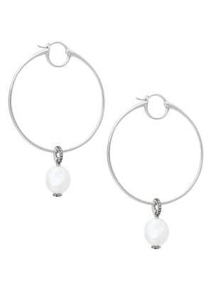 Nadri Silvertone & 12.7mm Freshwater Pearl Hoop Earrings