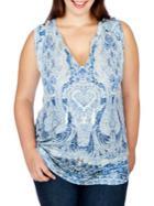 Lucky Brand Plus Paisley-printed Sleeveless Top