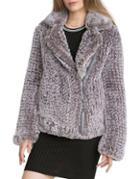 Avec Les Filles Faux-fur Knitted Moto Jacket