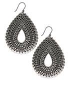 Lucky Brand Silvertone Tribal Teardrop Earrings