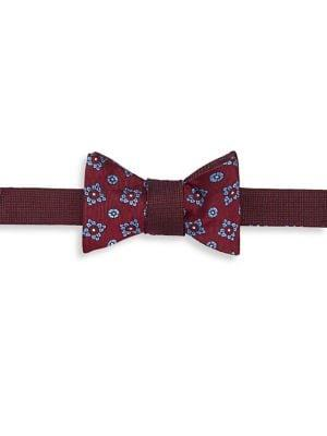 Brooks Brothers Red Fleece Pre-tied Textured Floral Silk Bow Tie