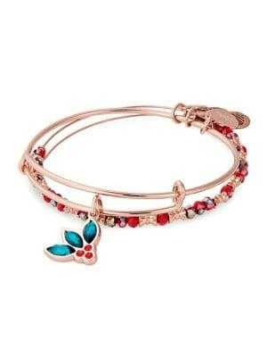 Alex And Ani Rose Goldtone Deck The Halls Two-piece Charm Bracelet