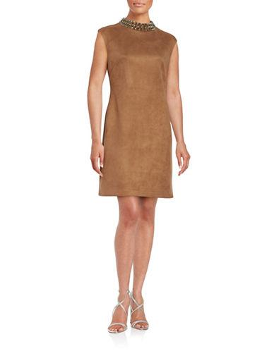 Vince Camuto Embellished Faux Suede Sheath Dress