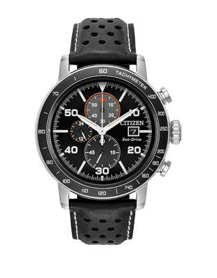 Citizen Eco-drive Stainless Steel Perforated Leather-strap Watch