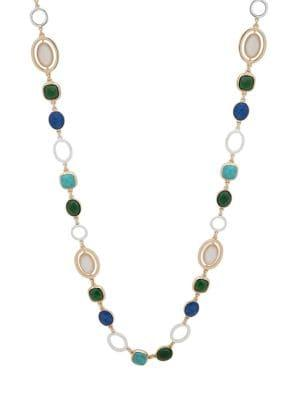 Anne Klein Two-tone & Crystal Single Strand Link Necklace