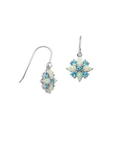 Lord & Taylor Flower Opal Drop Earrings