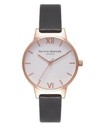 Olivia Burton White Dial Midi Dial Stainless Steel & Leather-strap Watch
