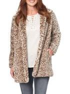 Democracy Leopard Print Faux Fur Jacket