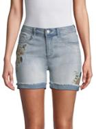 Kensie Jeans Embroidered Denim Shorts