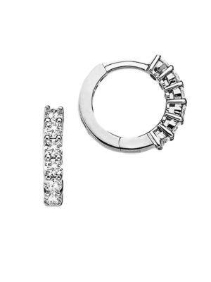 Roberto Coin Diamond & 18k White Gold Huggie Hoop Earrings/0.5