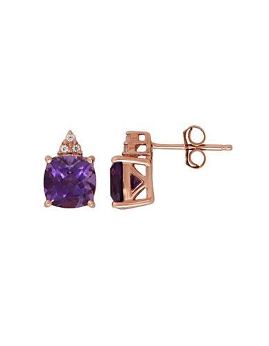 Lord & Taylor Amethyst And 14k Rose Gold Stud Earrings