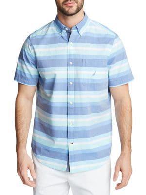 Nautica Striped Short-sleeve Button Down Shirt