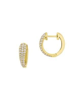 Sonatina 14k Yellow Gold & Diamond Triple Row Huggie Hoop Earrings