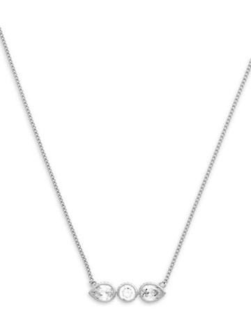 Cole Haan 1/25 Starry Skies Rhodium Tone Cubic Zirconia Brass Bar Pendant Necklace