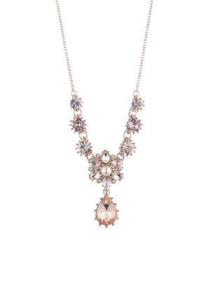 Marchesa Goldtone, Faux Pearl & Crystal Pendant Necklace