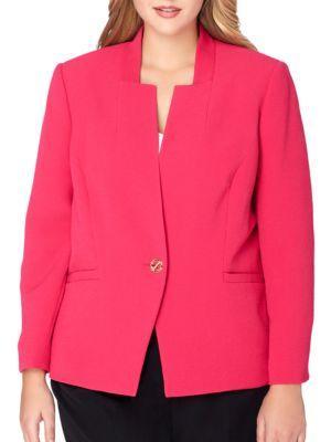 Tahari Arthur S. Levine Star-neck Crinkle Jacket