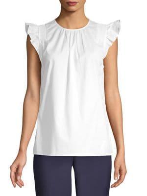 Michael Michael Kors Ruffled Sleeveless Cotton Top