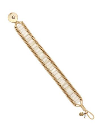 Lucky Brand Key Item Mother-of-pearl And Semi-precious Rock Crystal Goldtone Beaded Leather Bracelet
