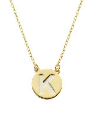 Lord & Taylor Sterling Silver K Pendant Necklace