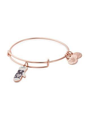 Alex And Ani Rose Goldtone Knit Mitt Charm Bracelet