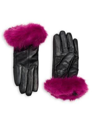 Surell Faux-fur Cuff Leather Gloves