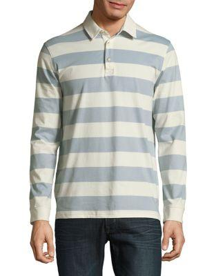 Black Brown Striped Long-sleeve Cotton Polo