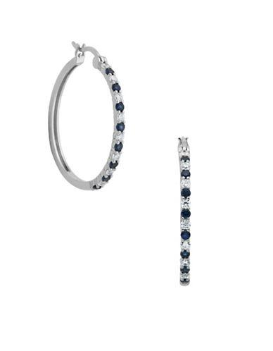 Lord & Taylor Blue And White Sapphire Hoop Earrings