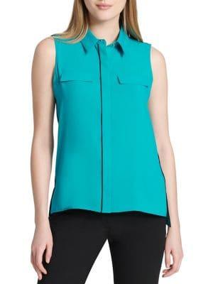 Calvin Klein Collared Crepe De Chine Top