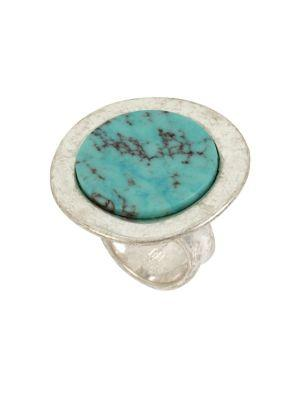 Lord Taylor Santa Fe Crystal And Turquoise Disc Ring