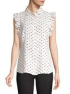 Anne Klein Ruffled Dotted Capsleeve Blouse
