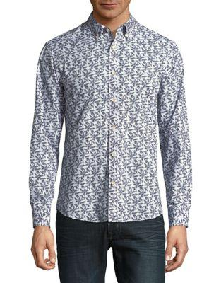 Black Brown Vine-print Cotton Button-down Shirt