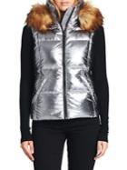 S13 Metallic Faux Fur Hooded Puffer Vest
