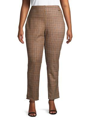 Rafaella Plus Plus Plus Houndstooth Plaid Skinny Pants