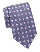 Black Brown Classic Floral Print Tie