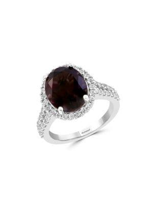 Effy Smoky Quartz, White Sapphire And Sterling Silver Solitaire Ring