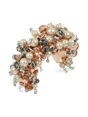 Betsey Johnson Rose Goldtone Mixed Stone & Faux-pearl Shaky Cuff Bracelet