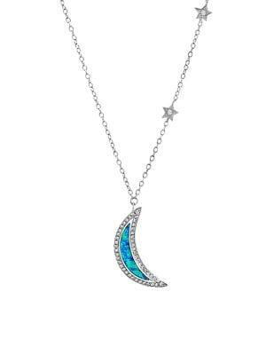 Lord & Taylor Sterling Silver & Crystal Pendant Necklace