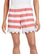 Kensie Lace-trimmed Striped Shorts