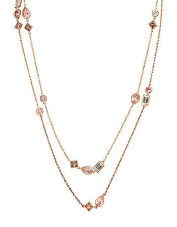Crislu Blush Cubic Zirconia, 18k Rose Gold & Sterling Silver Double-layer Necklace