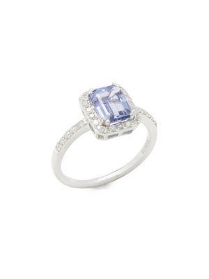 Effy Tanzanite, Diamond & 14k White Gold Ring