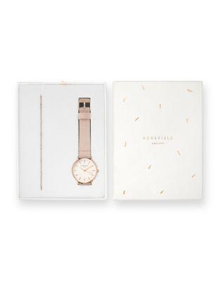 Rosefield West Village And The Downtown Bracelet And Nubuck Leather-strap Watch Holiday Set