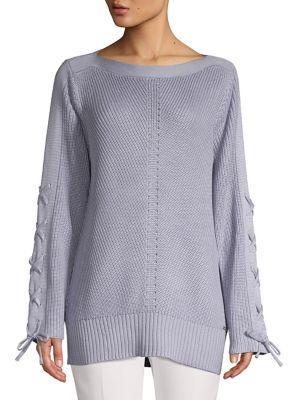 Ivanka Trump Lace-up Ribbed Knit Sweater